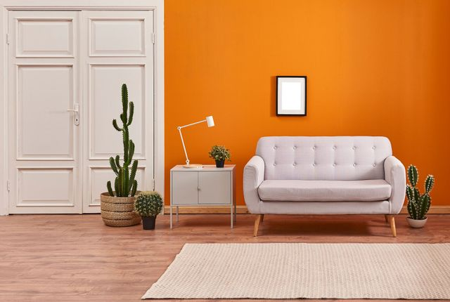 Brightly painted living room
